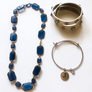 Lot 3 Jewelry Stone Necklace Wrap Bracelet Bangle